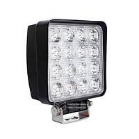 LED фара квадратная 48W, 16 ламп, узкий луч 10/30V 6000K, фото 1