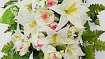 Ладья роза с лилией  с росой 130 см 4 расцветоки, фото 4