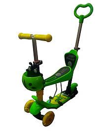Самокат Best Scooter с родительской ручкой, зеленый
