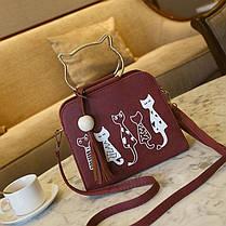 Каркасна сумка з ручками-котиками та принтом котів, фото 3