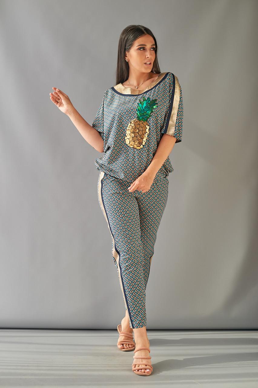 """Летний брючный женский костюм """"LARA"""" с блузой (большие размеры)"""