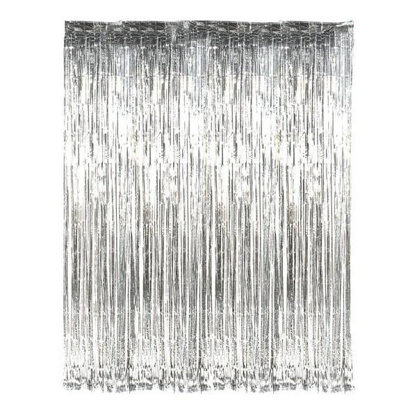 Шторка занавес из фольги для фото зон серебряная  голограмма  1х3 метра