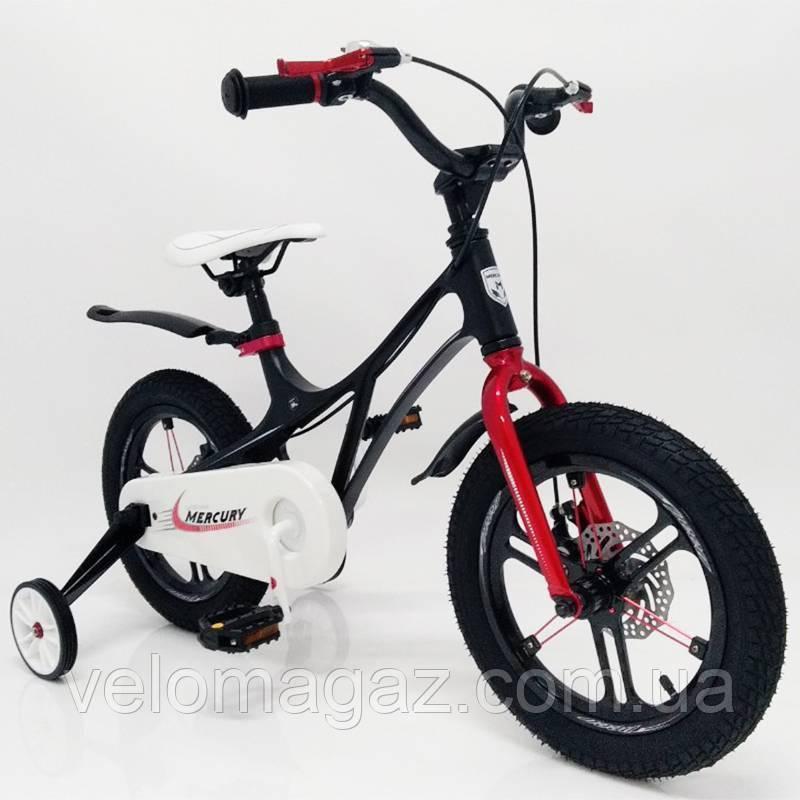 """Дитячий велосипед SIGMA MERCURY 14"""" з дисковими гальмами. Магнієва рама (Magnesium). Чорний"""