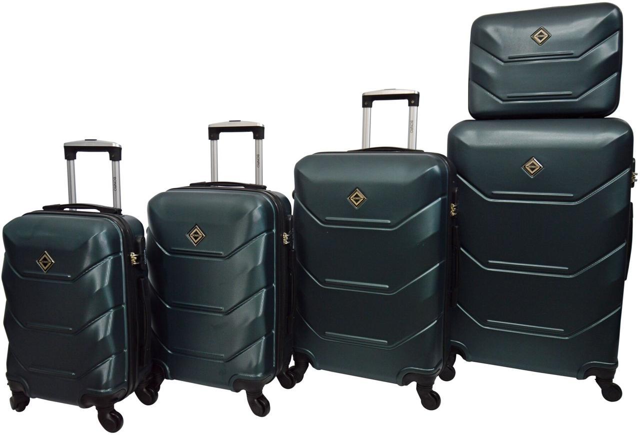 Набор пластиковых дорожных чемоданов на колесах Bonro 5 штук изумрудный