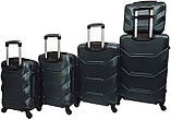 Набор пластиковых дорожных чемоданов на колесах Bonro 5 штук изумрудный, фото 2