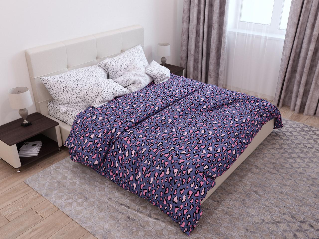 Двуспальный комплект постельного белья 178х215 «Яркие сердечки» из бязи голд