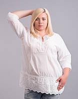 Блуза белая с кружевом и прошвой, большие размеры (56-60)