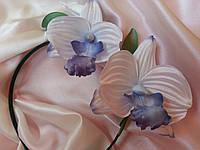 Ободок ручной работы, обруч с цветами из натурального шелка Орхидея