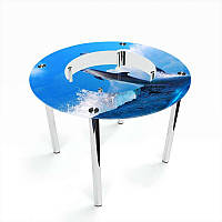 Стол кухонный стеклянный Круглый с полкой Dolphin 70х70 *Эко (БЦ-стол ТМ)
