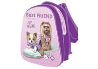 Рюкзак школьный каркасный для девочки KIDIS 39*30*18 см серия BEST FRIEND (собачки)