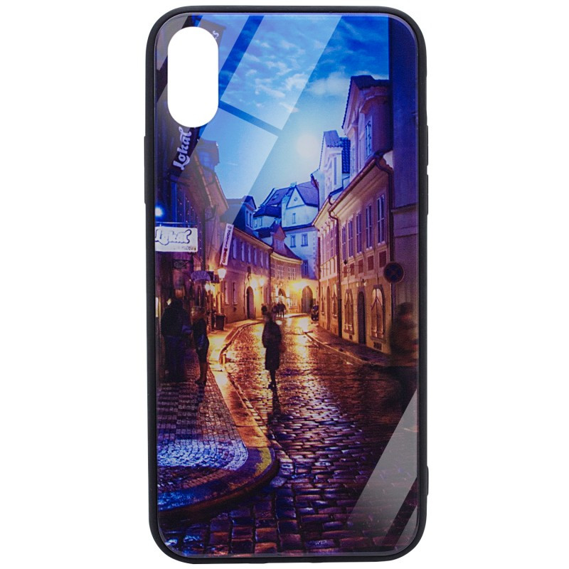 "TPU+Glass чехол Night series для Apple iPhone X (5.8"") / XS (5.8"") Переулок"