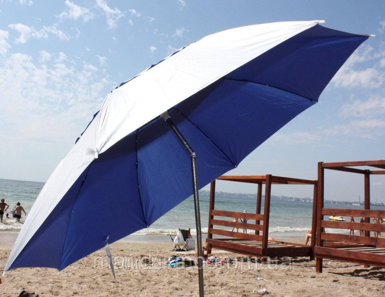 Пляжний зонт компактний, складаний, 160см, блакитний і зелений колір - фото 2