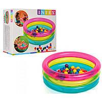 Детский сухой надувной бассейн с шариками Intex 86х25 см. (48674)