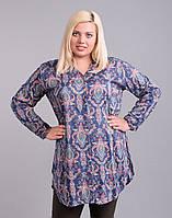 Длинная рубашка (туника), большие р-ры (48-50), синяя с огурцами
