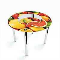 Стол кухонный стеклянный Круглый с полкой Fruit 70х70 *Эко (БЦ-стол ТМ)