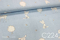 Ткань сатин Звери на голубом (мишка, олень, лисичка, зайчик)