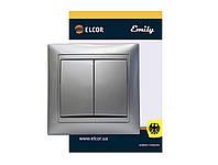 Выключатель двухклавишный (двойной) внутренний ЕLCOR Emily 9215 серый металллик (211551)