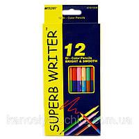 Цветные карандаши  12 карандашей 24 цвета  MARCO super writer двухцветные