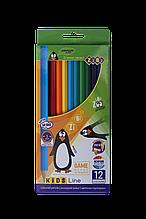 Карандаши цветные 12цв KIDS Line ZiBi