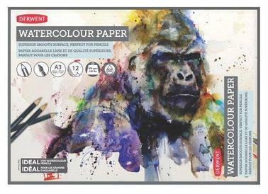 Альбом для акварели с акварельной бумагой Derwent А3 12л 300г/м2 белая гладкая бумага склейка 5028252337342
