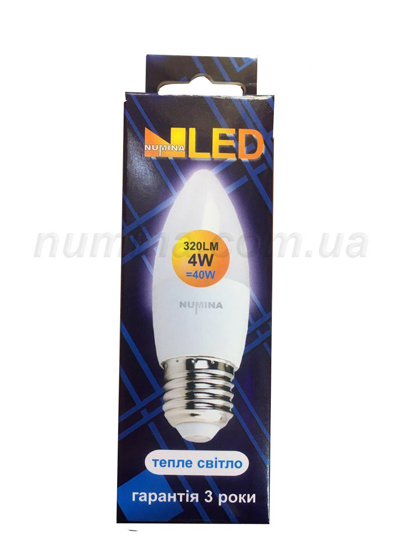 Світлодіодна лампа свічка PREMIUM C30 4W E27 3000K