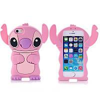 Силиконовый чехол Стич iPhone SE/5S/5, розовый