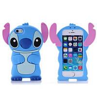 Силиконовый чехол Стич iPhone SE/5S/5, голубой