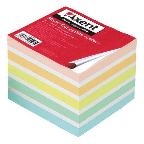 Блок бумаги для заметок непроклеенный Axent 90x90x70мм ассорти цветов 8028-A, фото 2