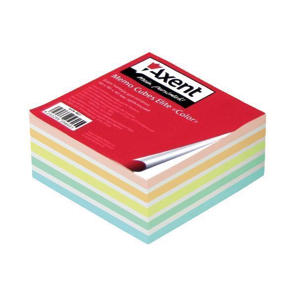 Блок бумаги для заметок Axent проклеенный 90x90x40мм ассорти цветов 8027-A