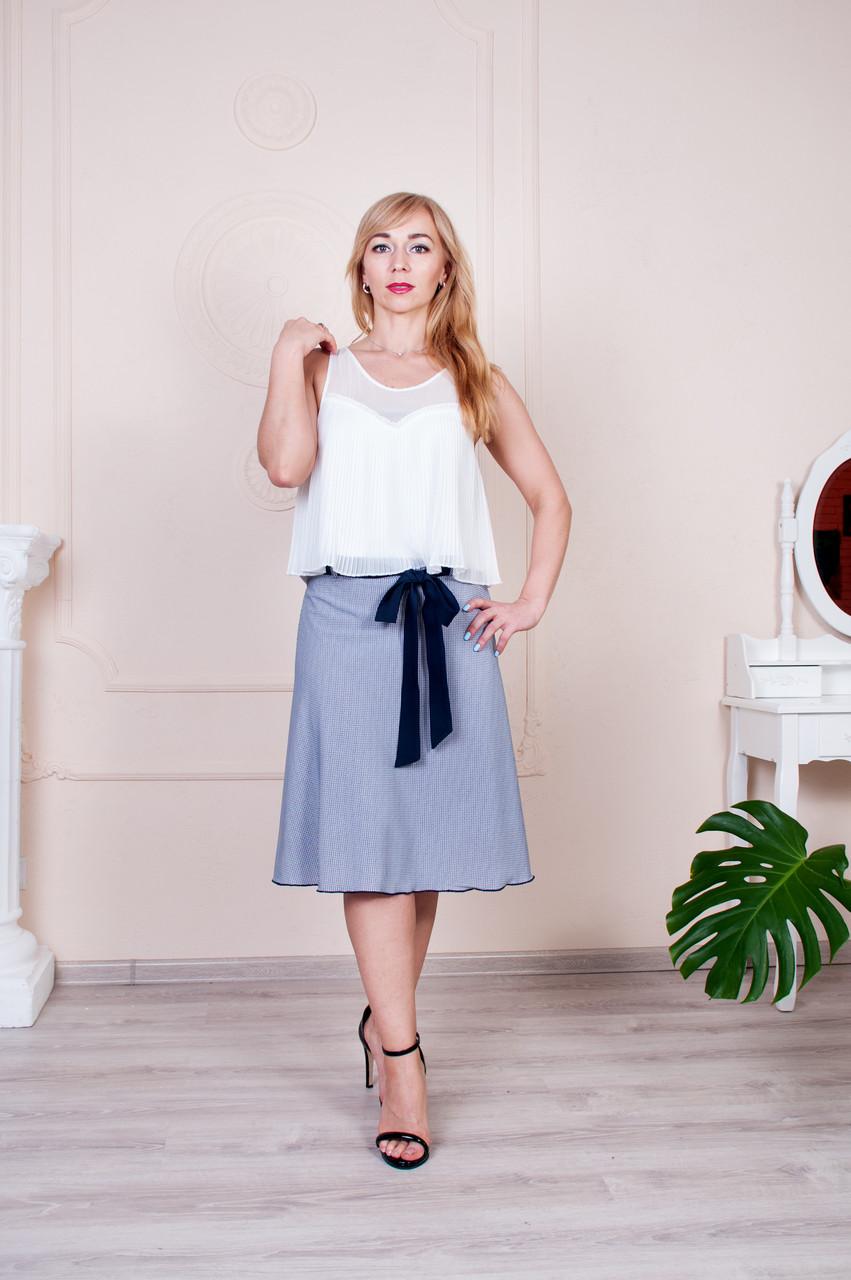 Летняя юбка Инесса голубая з синим поясом