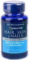 Puritan's Pride Hair, Skin & Nails One Per Day Formula 30 softgels, фото 2