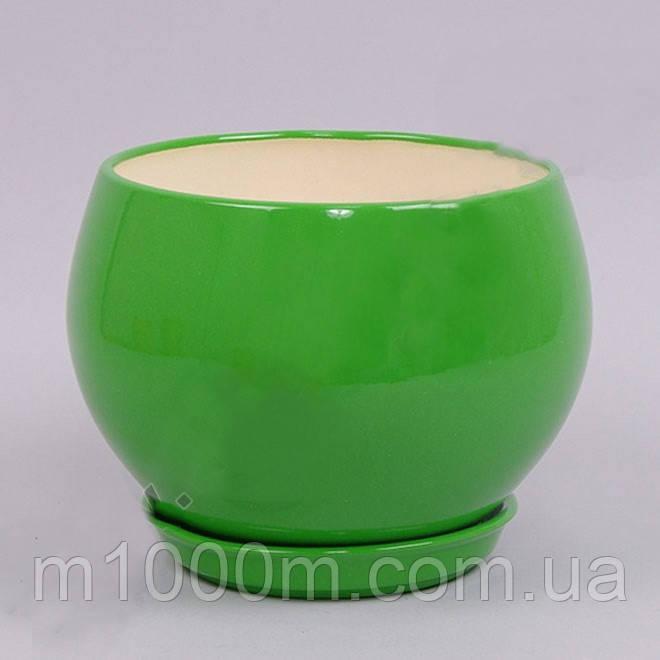 Горшок керамический Шар глянец зеленый 9л