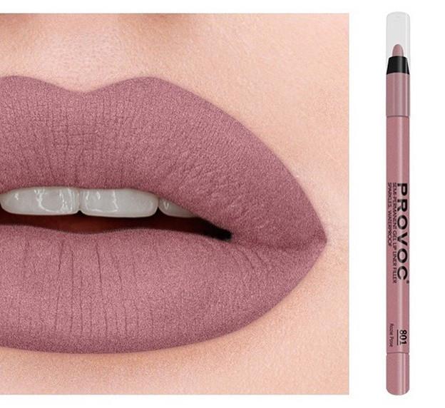 Полуперманентный гелевый карандаш для губ №801 (лилово-бежевый нюд) PROVOC Gel Lip Liner Rozie Pose