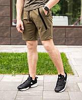 """Класні чоловічі літні шорти з бавовни """"Зорро"""" хакі з чорною смугою"""
