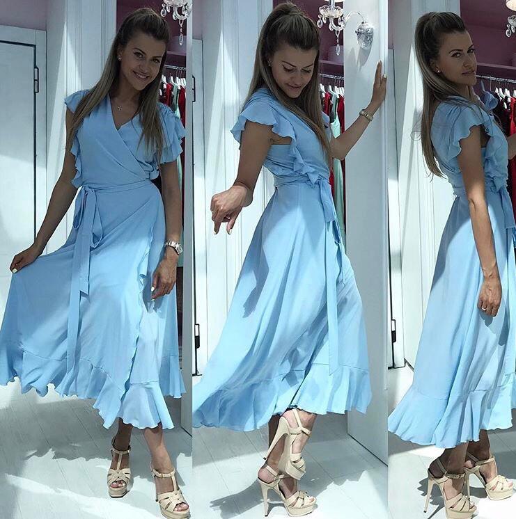 Платье женское длинное. (мод.246) цвета: голубой, розовый, фото 1