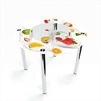 Стол кухонный стеклянный Круглый с полкой Milkshake 70х70 *Эко (БЦ-стол ТМ)
