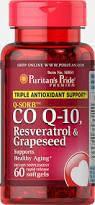 Коензим, Puritan's Pride Q-SORB™ Co Q-10, Resveratrol & Grapeseed 60 softgels