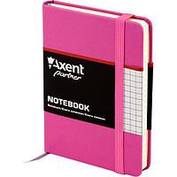 Записная книга блокнот Axent 95x140мм 80л клетка,тв. обл.,пурпурный Partner 8301-05-A