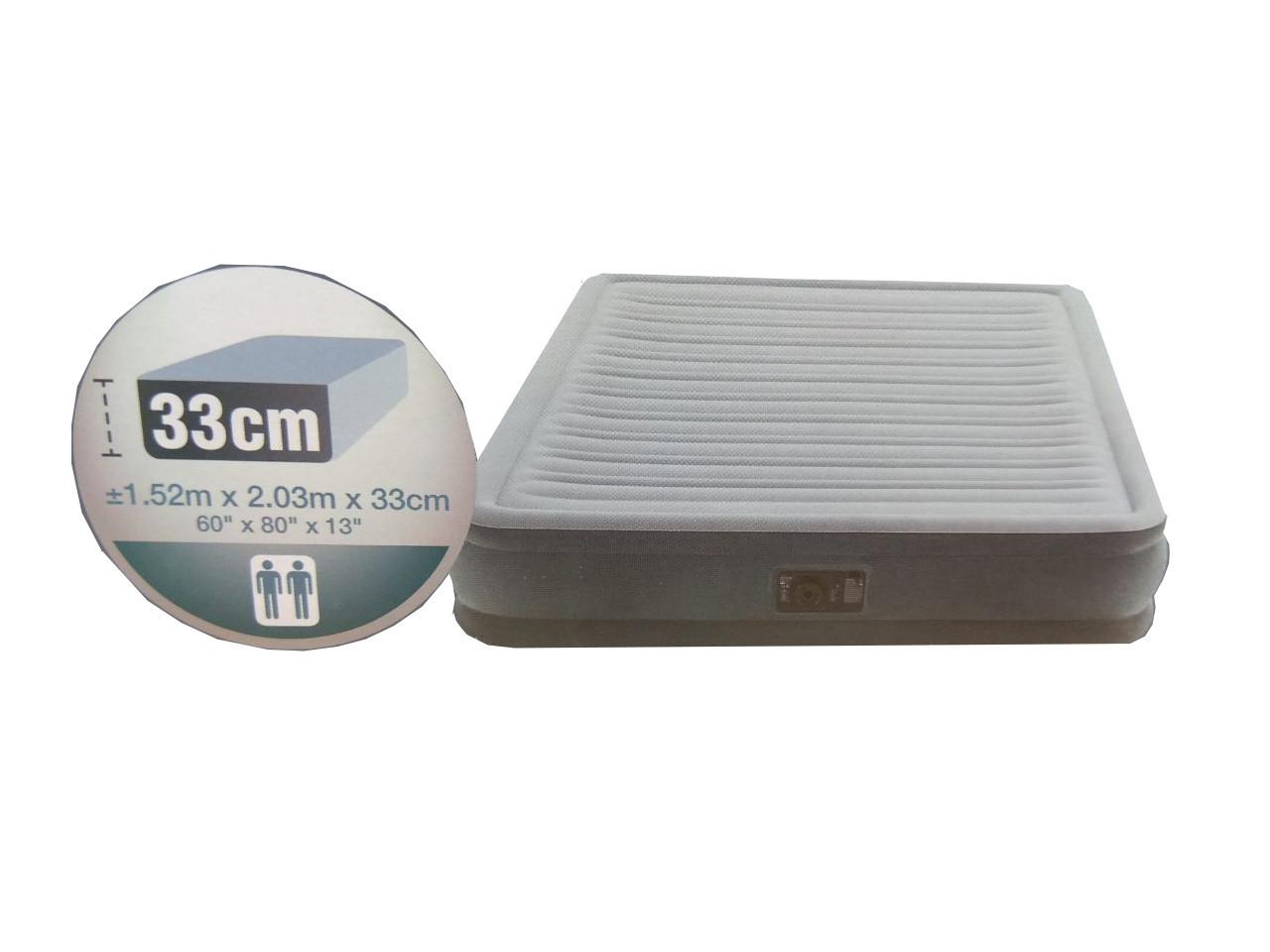 Intex Велюр матрас 67770, 152х203х33 см, двухместный, со встроенным насосом 220V