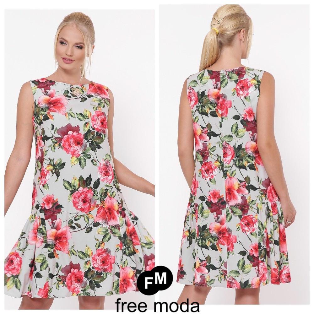 Стильное женское платье в модном принте больших размеров 50-56