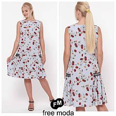 Стильное женское платье в модном принте больших размеров 50-56  , фото 2