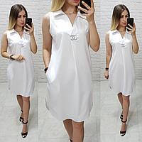 Платье без рукава арт. 167 белое / белого цвета