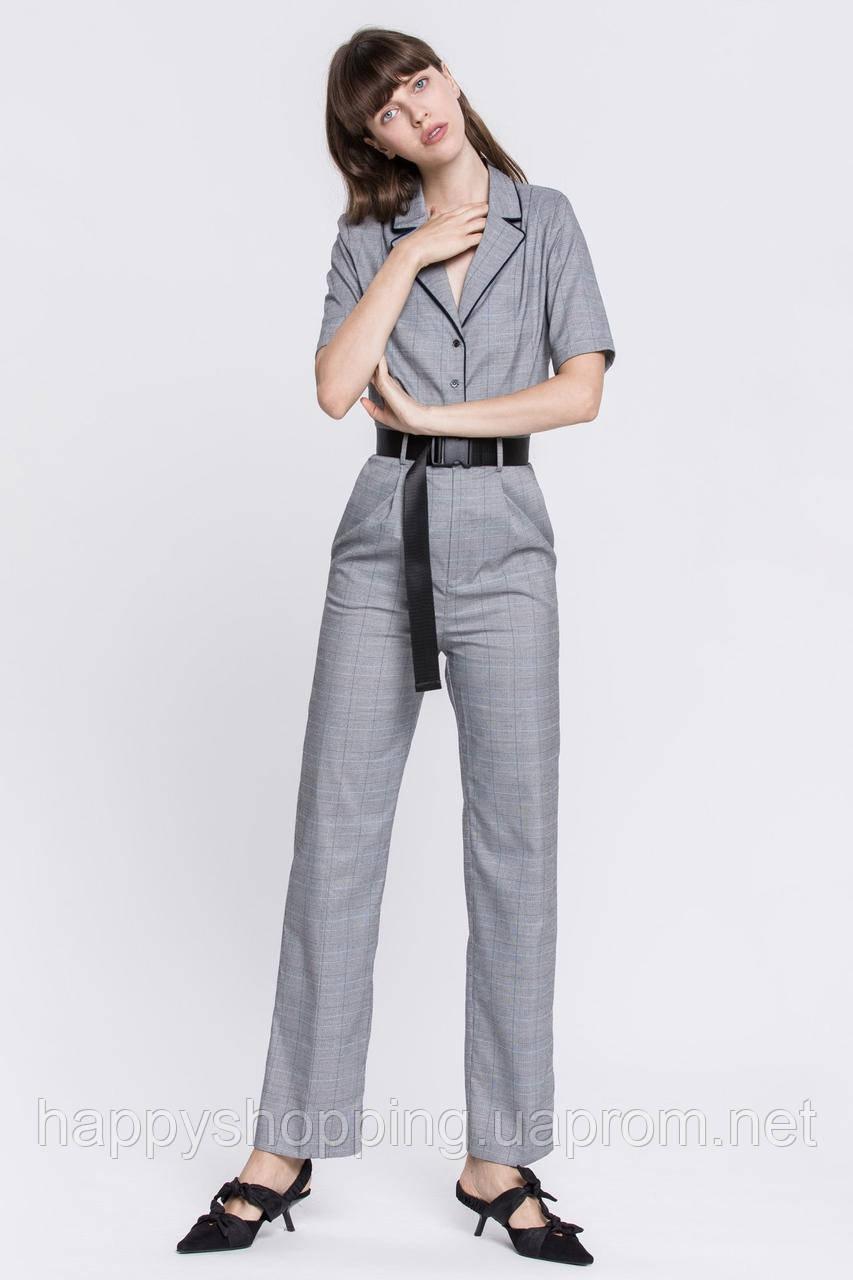 Женские серые брюки в клетку с высокой посадкой Grey Lab