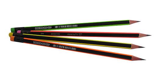 Карандаш графитовый Buromax НВ NEON черно-неоновый с ластиком карт коробка BM.8508, фото 2