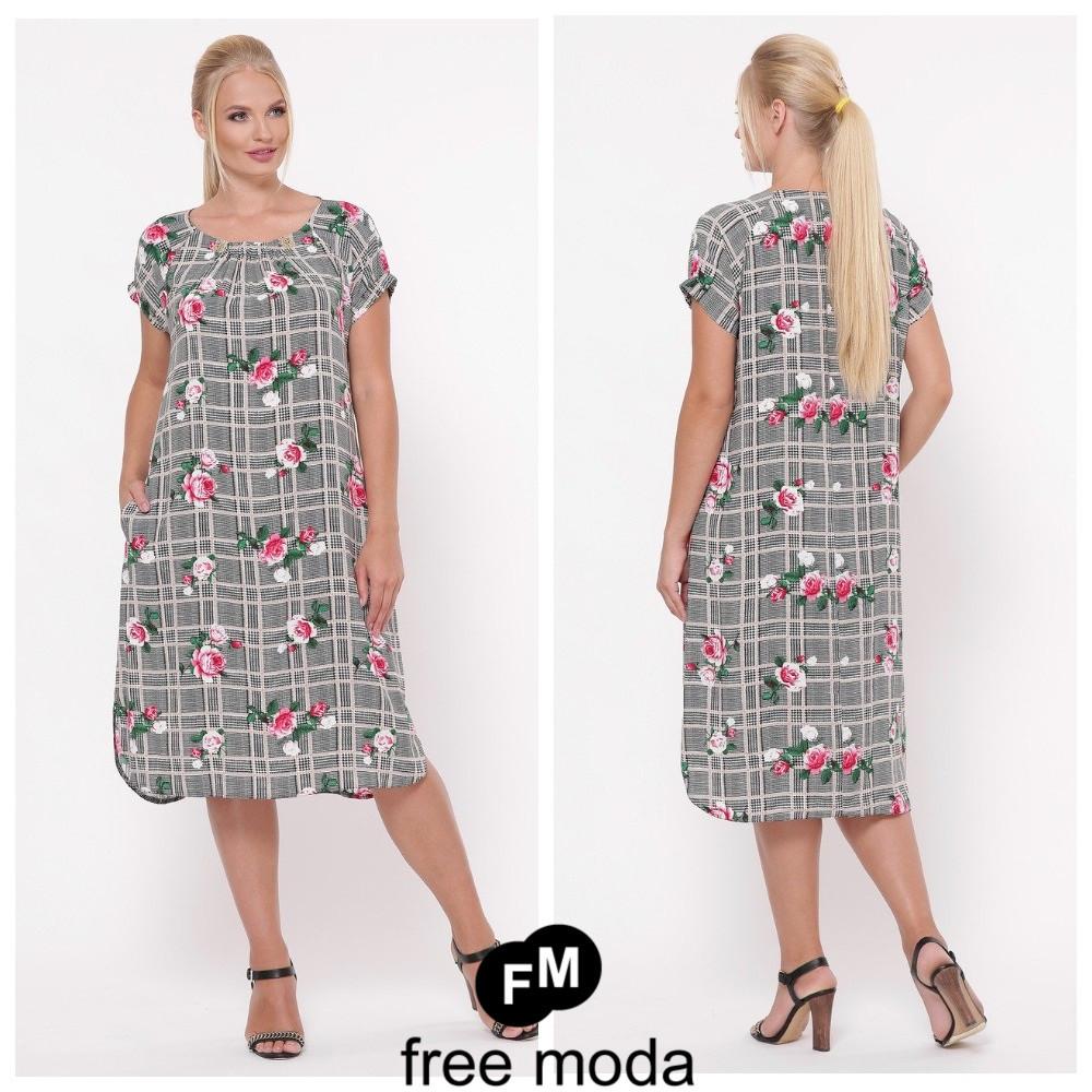 Летнее женское платье свободного кроя из принтованного штапеля больших размеров 52-58