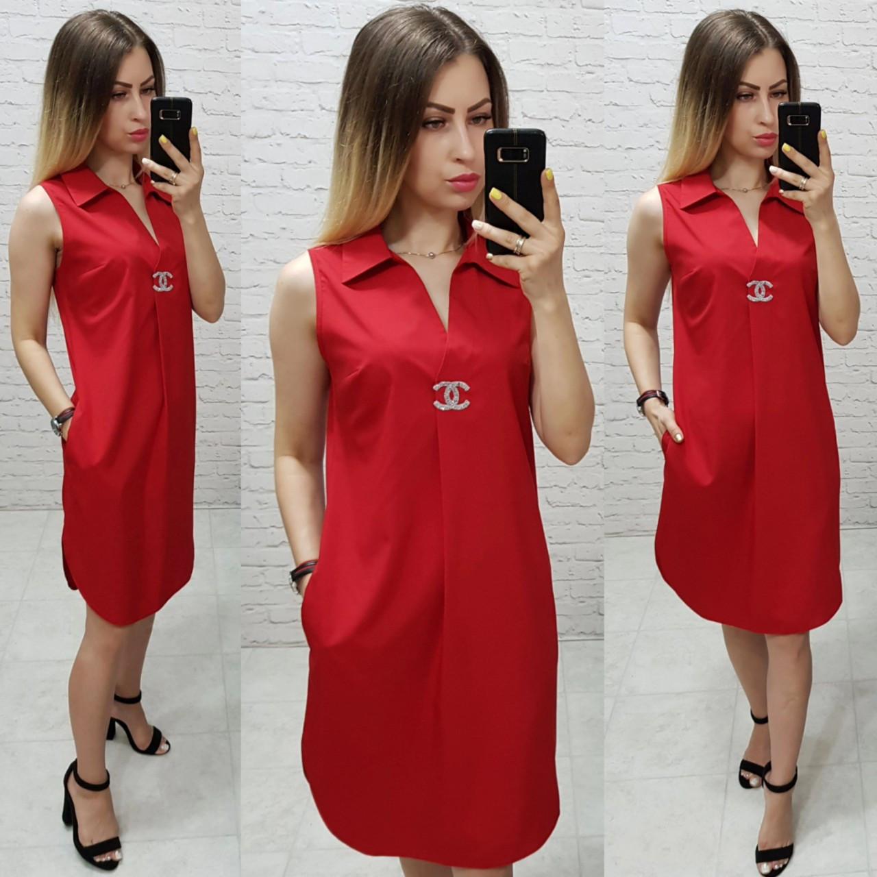 Платье без рукава арт. 167 красное / красного цвета