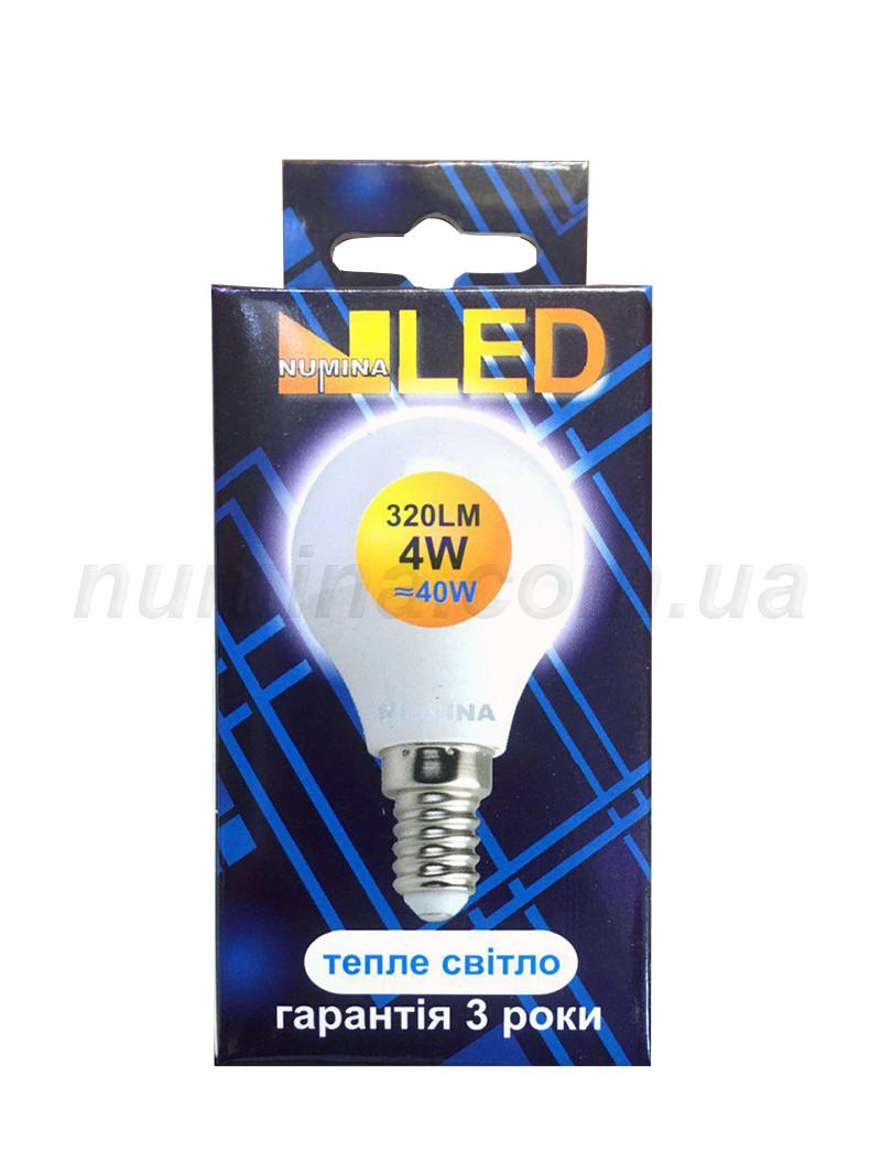 Светодиодная лампа шар PREMIUM G45AP 4W E14 3000K