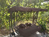 """Садовая качеля-кровать """"Люкс"""" с подушками коричневая, до 250 кг. Производство Польша."""