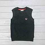 Детская черная школьная жилетка  для мальчиков оптом р.5-6-7-8 лет, фото 2