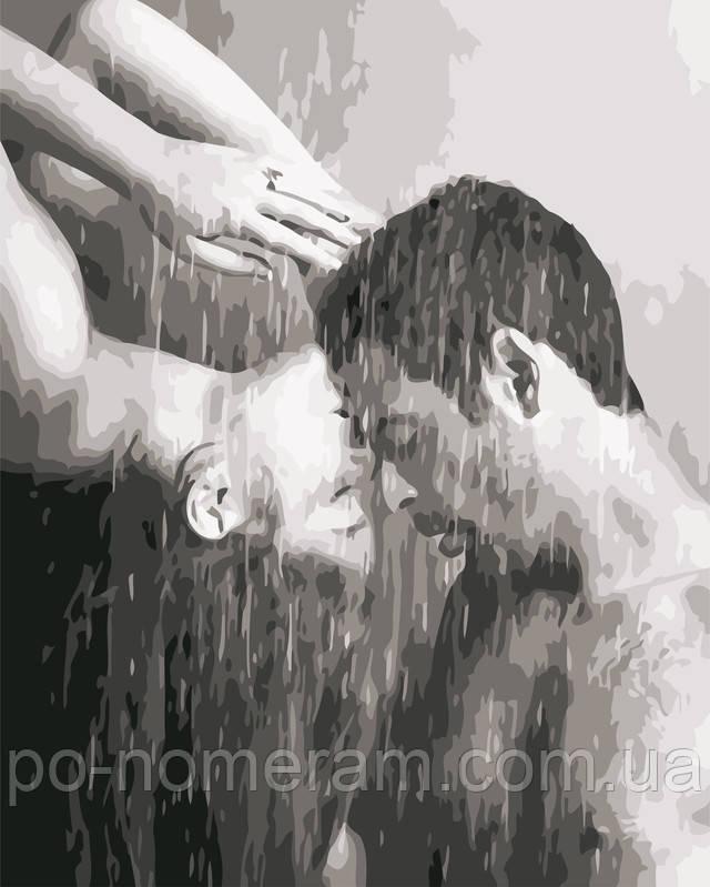черно белая раскраска для взрослых пара под дождем